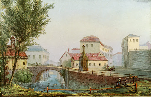 Kvarnbron, S:t Eriks klla och S:t Eriks grnd. Gouache frn 1850-talet