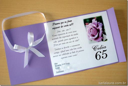 Convite de Aniversário Celia – 65 anos - Karla Laura Convites ...