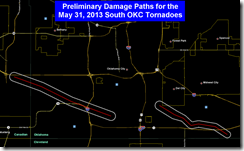 damage path of the South OKC and tinker AFB