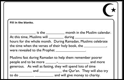 free Ramadan worksheet from the BBC