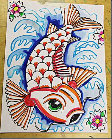 Smart class koi fish for Cool things to draw with markers