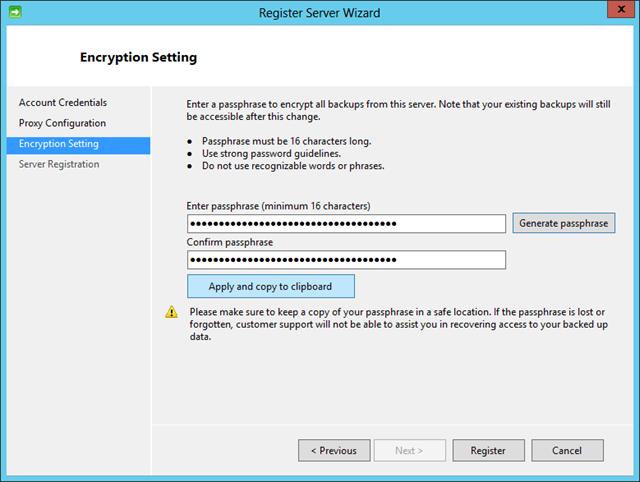 RegServerWiz - EncryptionPassPhrase