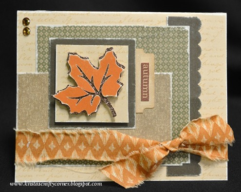 Krista 39 s crafty corner autumn glitter leaf card 3rd card for Huntington card designs