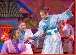 Mulan (Gian Gloria) and Villagers (Shanelle Comia and Angel Yu)