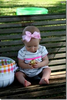 Finley holding an egg