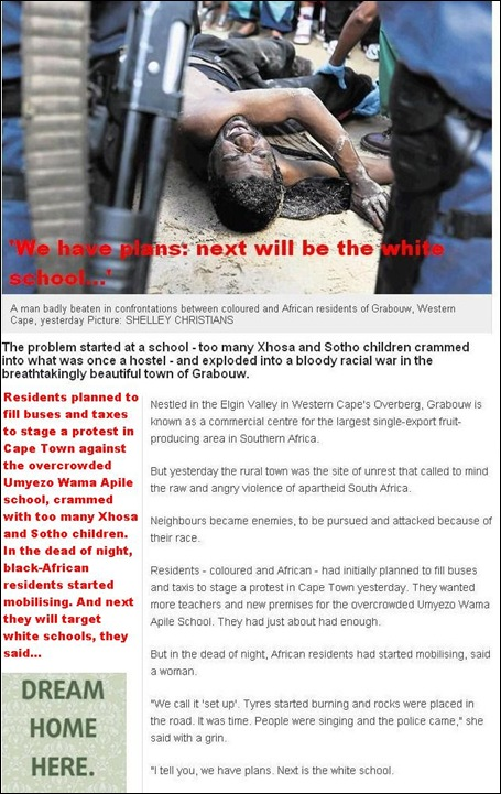 RACIAL VIOLENCE GRABOUW THE NEXT SCHOOL WE WILL TARGET WILL BE THE WHITE SCHOOL MAR202012