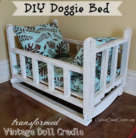 vintage doll cradle to doggy bed