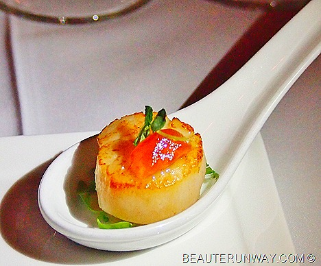 The Halia Menu Pan-seared Hokkaido scallop, micro cress, garlic and gelee of apple extract