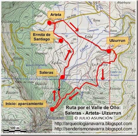 Mapa ruta por el Valle de Ollo