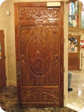 One of six hand-carved doors