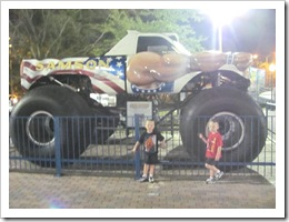 Florida vacation Old Town Sampson monster truck with twins