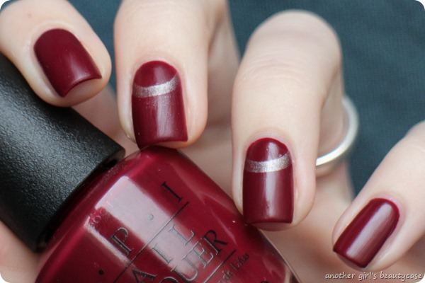 Novemberlackliebe Halbmond Half Moon Nailart OPI Just A Little Roesti At This (1 von 3)