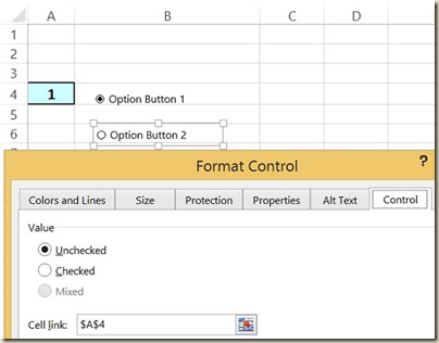 Form Controls in Excel - Option Button 2