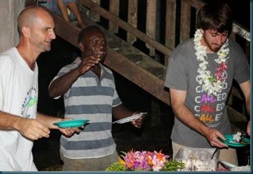 Chief Leonard, Aaron, Brennen getting food