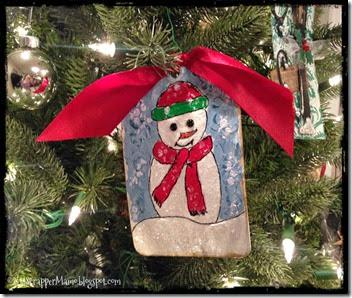 Glitter Snowman Tag