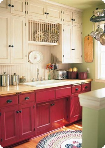 red&cream kitchen cabinets with beadboard backsplash
