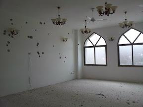 Bullet holes in Riyad El Salahin mosque halls