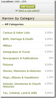 The Ancestry.com category filters