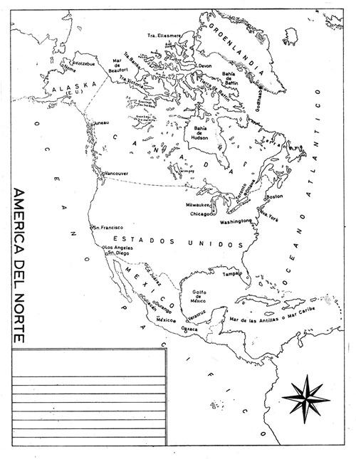 Mapa de América del Norte con división política con nombres