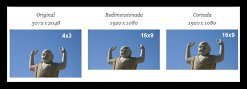 Comparativo as diferenças de recortar e redimensionar uma foto