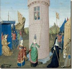 Les troupes du dieu d'Amour assaillent la tour où est enfermé(e) Bel Acueil BnF, Français 19153, f. 85v (Anjou, vers 1460)