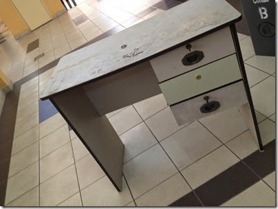 abandoned furniture, there i stole a desk