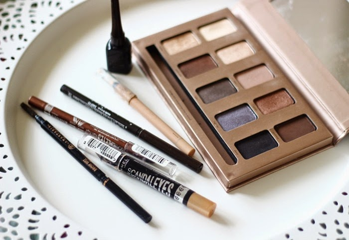 stila in the light eyeshadow palette rimmel scandaeyes bullet proof beige rimmel scadaleyes bronze and nude eyeliner stila smudge stick brown anastasia beverely hills brow wiz brunette
