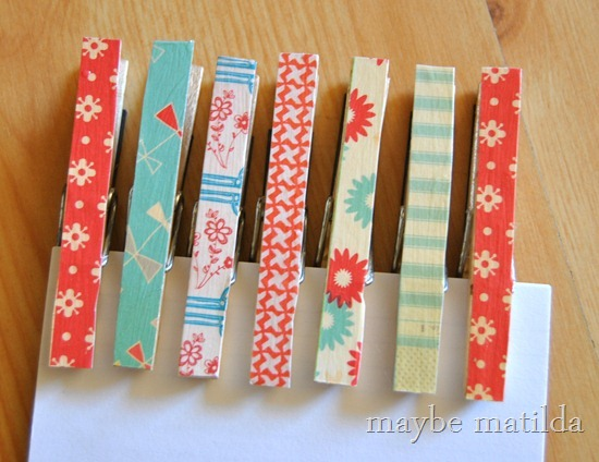 DIY Paper Embellished Clothespins