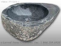 Natural Boulder - Stone Vessel Sink, Dark with Polished Rim