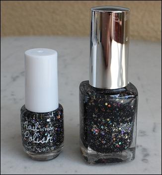 H&M Nagellack Dupe NYX Frizzy Spots Black Glitter