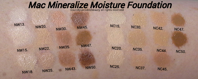 Mac Mineralize Moisture Foundation SPF 15; Review & Swatches of Shades,  NW13, NW20, NW30, NW45, NC15, NC30, NC42, NC47 NW15, NW22, NW35, NW47, NC20, NC35, NC44, NC50, NW18, NW25, NW43, NW50, NC25, NC37, NC45