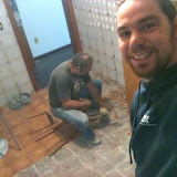 Removing the old tiles from walls and floor in the kitchen