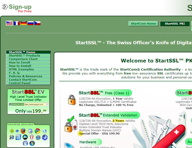 The StartSSL homepage