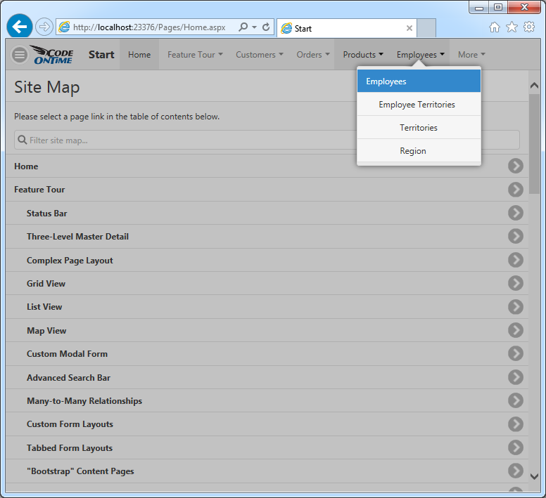 A navigation system with single page apps automatically created by Code On Time applicaiton generator.