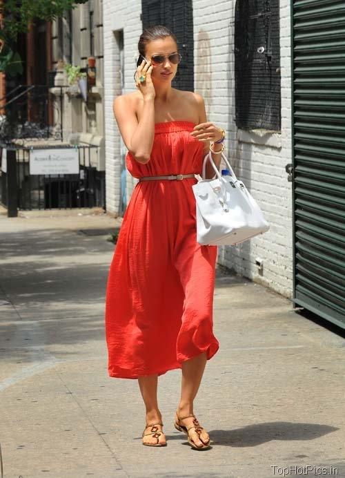 Irina Shayk in Hot Red Stylish Dress Pics 1