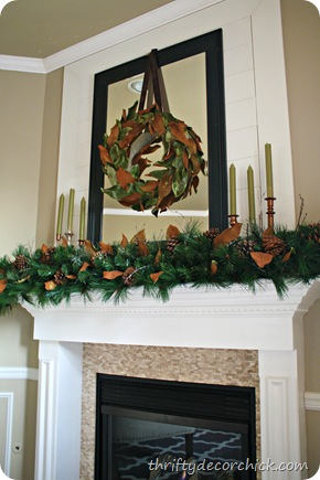natural copper Christmas mantel