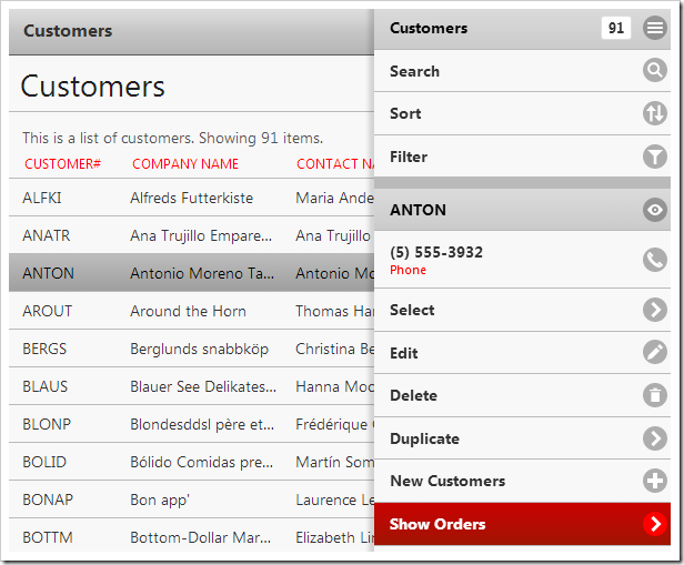 "Activating the ""Show Orders"" action on the Customers page."