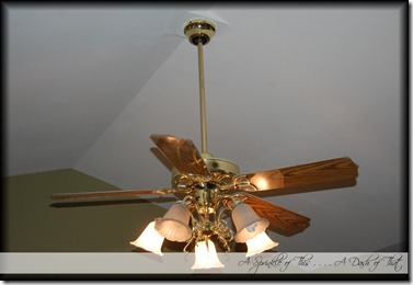 Brass ceiling fan before {A Sprinkle of This . . . . A Dash of That}
