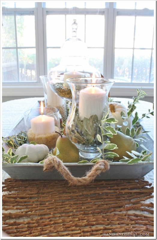 Green & White Fall Centerpiece