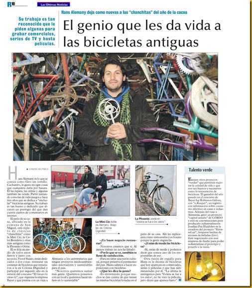 Publicacion en LAS ULTIMAS NOTICIAS 2011