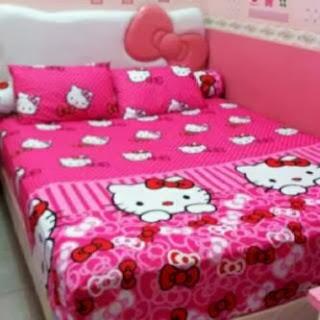 Jual Sprei Bedcover Hello Kitty Murah Grosir Ecer Pink