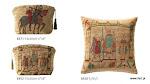 Akcesoria gobelinowe - Fragmenty słynnego gobelinu, prezentującego historię podboju Brytanii w XI wieku – wycinek słynnego gobelinu królowej Matyldy, żony Wilhelma Zdobywcy – księcia Normandii.