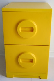 yellow, two drawer filing cabinet make by the Akro-Mils division of Myers Industries, Akron, Ohio