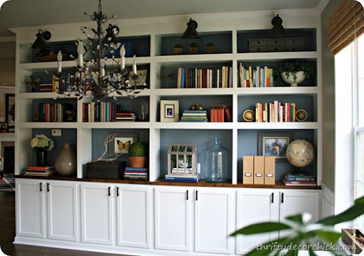Beautiful DIY Built In Bookcases With Cabinet Bases
