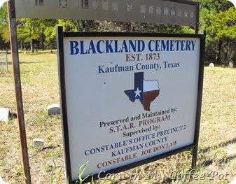 Blackland Cemetery Kaufman County Plaque