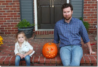 Zoey & Daddy posing with pumpkin