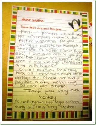 Monkeys letter to Santa