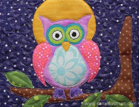 Purple Owl Mug Rug 1