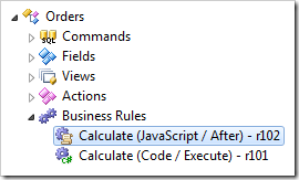 Calculate JavaScript Business Rule in Orders controller of Project Explorer.