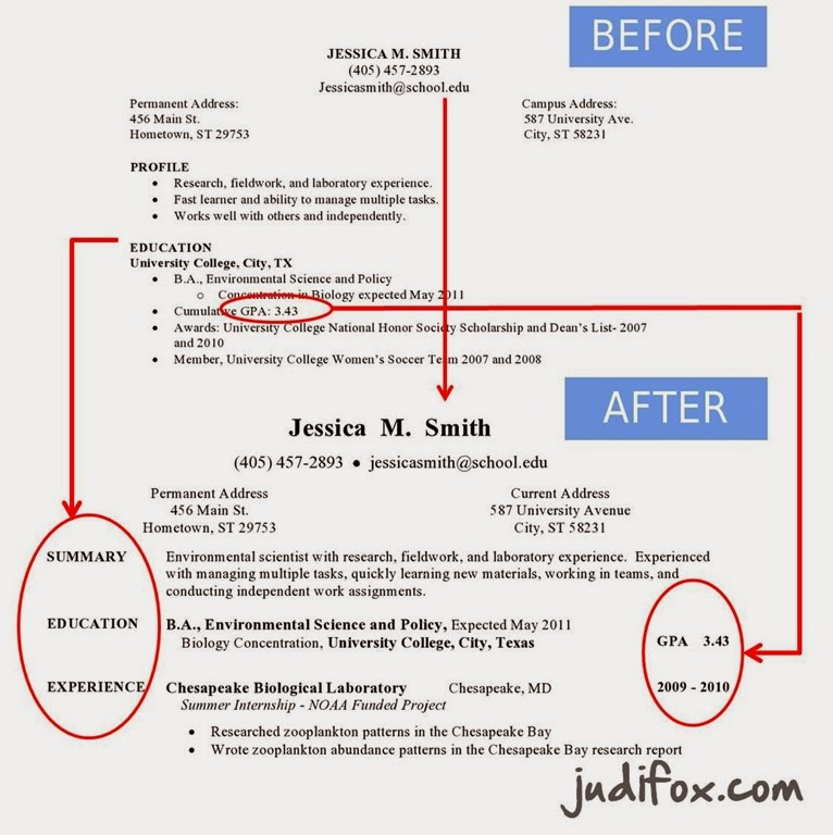 before and after resume details increase font size and make gpa stand out improve section headings - Font Size For Resume
